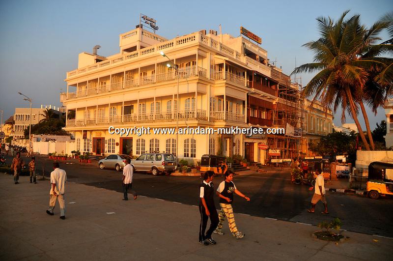 Morning walkers at the beach road in Pondicherry.Arindam Mukherjee/Sipa