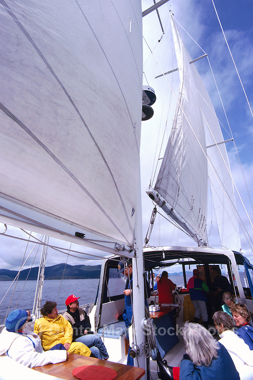 Queen Charlotte Islands (Haida Gwaii), Northern BC, British Columbia, Canada - People sailing and exploring by Sailboat
