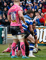 Cooper Vuna of Bath Rugby celebrates his first half try with team-mates. Anglo-Welsh Cup Final, between Bath Rugby and Exeter Chiefs on March 30, 2018 at Kingsholm Stadium in Gloucester, England. Photo by: Matt Impey / Wired Photos for Onside Images