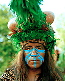 MEXICO, Maya Riviera, Mayan Indian man in ceremonial costume, Yucatan Peninsula