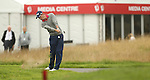 Welsh golfer Rhys Davies plays his second shot from close to the out of bounds on the first hole during the opening round of the ISPS Handa Wales Open 2013 at the Celtic Manor Resort.<br /> <br /> 29.08.13<br /> <br /> &copy;Steve Pope-Sportingwales