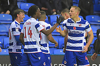 Michael Morrison of Reading right celebrates scoring the first goal with Ovie Ejaria of Reading during Reading vs Luton Town, Sky Bet EFL Championship Football at the Madejski Stadium on 9th November 2019