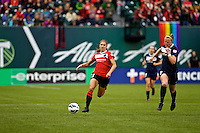PORTLAND, Oregon - July 14, 2013: The Portland Thorns and the Western New York Flash played to a 1-1 tie during a NWSL game at JELD-WEN Field.