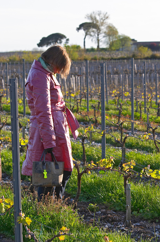 a woman in red in the vineyard chateau belgrave haut medoc bordeaux france