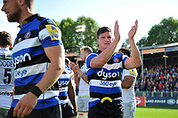 Freddie Burns of Bath Rugby celebrates the win after the match. Aviva Premiership match, between Bath Rugby and Saracens on September 9, 2017 at the Recreation Ground in Bath, England. Photo by: Patrick Khachfe / Onside Images