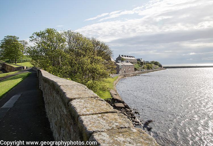 Fortified defensive walls facing North Sea, Berwick-upon-Tweed, Northumberland, England, UK