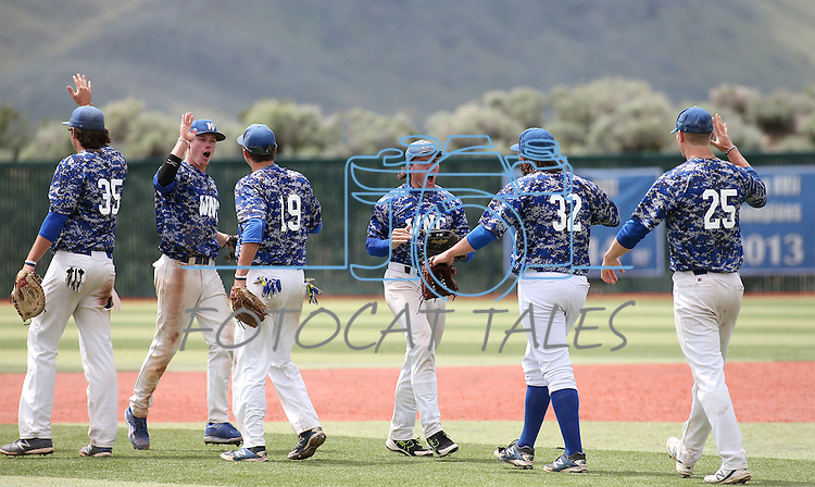 Western Nevada players celebrate a win against College of Southern Nevada in Carson City, Nev. on Friday, May 6, 2016. <br />