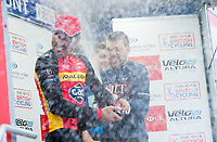 Picture by Allan McKenzie/SWpix.com - 14/07/17 - Cycling - HSBC UK British Cycling National Circuit Series - Velo29 Altura Criterium - Stockton, England - Brenton Jones sprays champagne all over Enrique Sanz.
