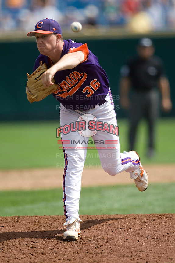 Clemson starting pitcher Casey Harman in Game 4 of the NCAA Division One Men's College World Series on Monday June 21st, 2010 at Johnny Rosenblatt Stadium in Omaha, Nebraska.  (Photo by Andrew Woolley / Four Seam Images)