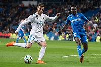 Real Madrid Cristiano Ronaldo Getafe Djene Dakonam during La Liga match between Real Madrid and Getafe CF  at Santiago Bernabeu Stadium in Madrid , Spain. March 03, 2018. (ALTERPHOTOS/Borja B.Hojas) /NortePhoto.com NORTEPHOTOMEXICO