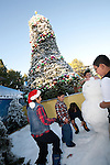 Children playing in the snow at Grinchmas at Universal Studios Hollywood in Los Angeles, CA