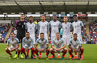 The england team (back row l-r) Goalkeeper Angus Gunn, Nathaniel Chalobah, Ruben Loftus-Cheek, Dominic Iorfa, Calum Chambers & Kortney Hause (front row l-r) James Ward-Prowse, Nathan Redmond, Lewis Baker, Matt Targett & Marcus Rashford during the International EURO U21 QUALIFYING - GROUP 9 match between England U21 and Norway U21 at the Weston Homes Community Stadium, Colchester, England on 6 September 2016. Photo by Andy Rowland / PRiME Media Images.