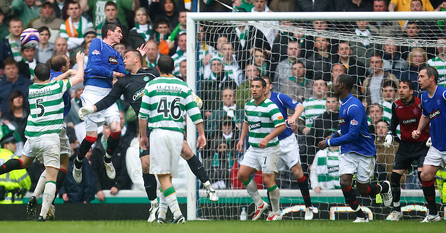Artur Boruc up in the Rangers penalty box as a makeshift striker trying wo win a header from Kyle Lafferty