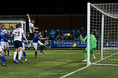 29th January 2019, Palmerston Park, Dumfries, Scotland; Scottish Cup football, 4th round replay, Queen of the South versus Dundee; Darren O'Dea of Dundee hits the post with a header