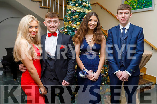 Tara Naughton, Jonathan Lowe, Maeve Murphy and Dáire McGovern attending the CBS the Green Debs in the Ballyroe Heights Hotel on Monday night.