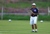 Costa Rica coach Jorge Luis Pinto watches during the training session ahead of tomorrow's match vs Greece