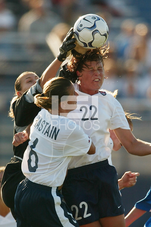 Russian goalkeeper Tatiana Pitchougova takes the ball off of Abby Wambach's head. The USWNT defeated Russia 5-1 on  September 29, at Mitchel Athletic Complex, Uniondale, NY.