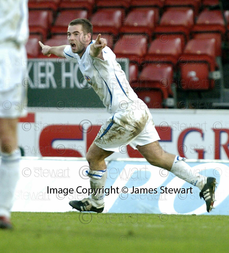 03/02/2007       Copyright Pic: James Stewart.File Name : sct_jspa25_falkirk_v_st_johnstone.PETER MACDONALD CELEBRATES AFTER HE SCORES THE THIRD FOR SAINTS...James Stewart Photo Agency 19 Carronlea Drive, Falkirk. FK2 8DN      Vat Reg No. 607 6932 25.Office     : +44 (0)1324 570906     .Mobile   : +44 (0)7721 416997.Fax         : +44 (0)1324 570906.E-mail  :  jim@jspa.co.uk.If you require further information then contact Jim Stewart on any of the numbers above.........