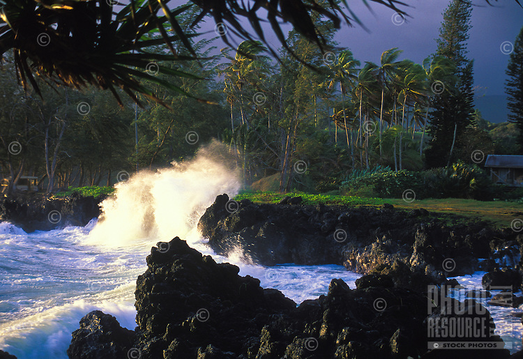 Waves crashing on coastline at Keanae peninsula, Hana coast of Maui