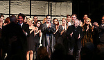 Joe Masteroff, Rob Marshall, Michelle Williams, Alan Cumming, Linda Emond, John Kander, Bill Heck, Gayle Rankin and Sam Mendes during the Broadway Opening Night Performance Curtain Call for 'Cabaret' at Studio 54 on April 24, 2014 in New York City.