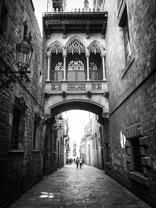 The famous gothic architecture near the Barcelona Cathedral, Spain.