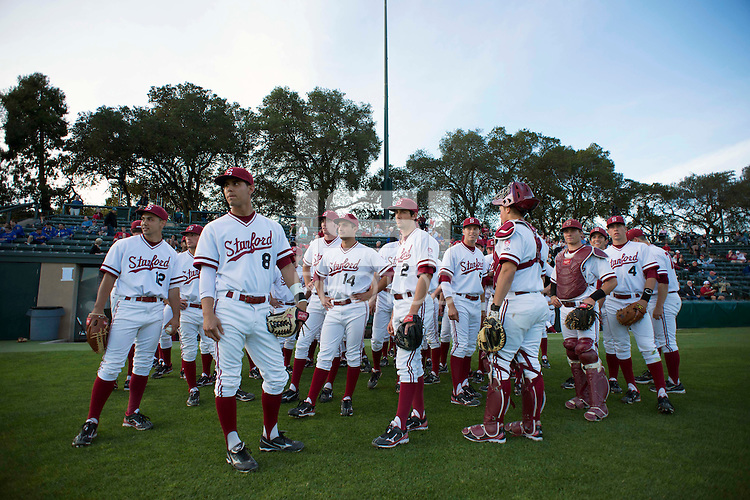 Stanford, CA - Friday, March 1, 2013: Stanford Cardinal team during the NCAA baseball game against the Texas Longhorns.