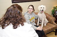 Dr. Christine Calder with client and patient named Sky.