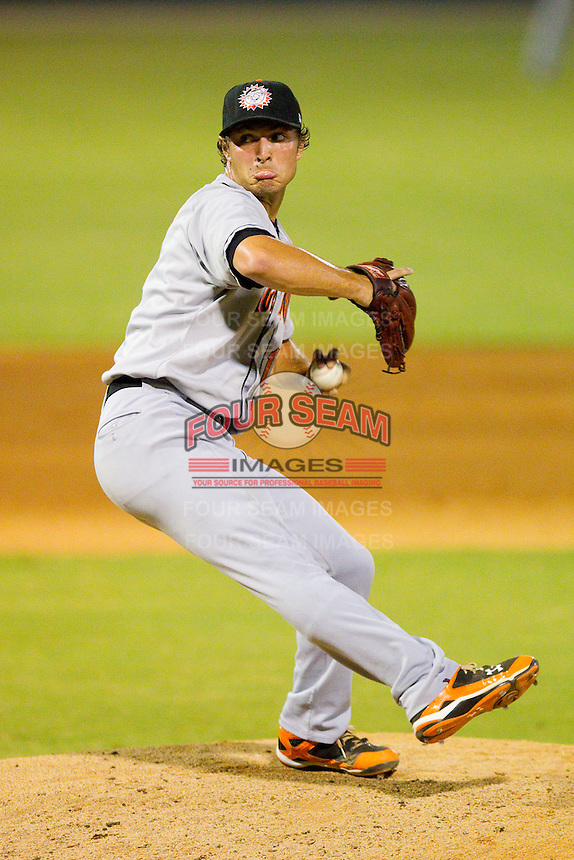Relief pitcher Josh Smoker #17 of the Hagerstown Suns in action against the Kannapolis Intimidators at Fieldcrest Cannon Stadium August 10, 2010, in Kannapolis, North Carolina.  Photo by Brian Westerholt / Four Seam Images
