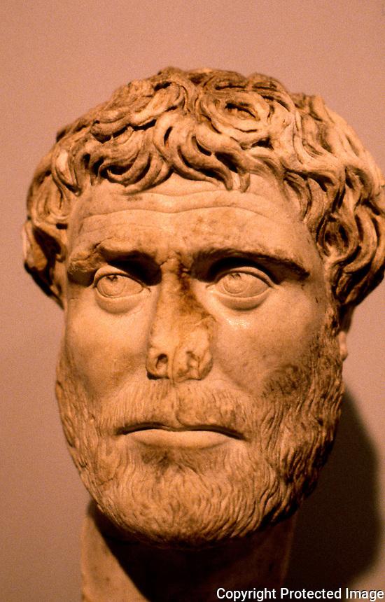 Greek Art:  Roman Portrait Bust--Bearded man, 2nd--3rd Century A.D.  J. Paul Getty Museum, Malibu.