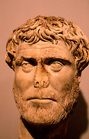 Greek Art:  Roman Portrait Bust--Bearded man, 2nd--3rd Century A.D.  J. Paul Getty Museum, Malibu.