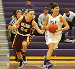 SIOUX FALLS, SD - JANUARY 30:  Jaicee Ulmer #14 from the University of Sioux Falls pushes the ball past Taylor Dillinger #34 from Minnesota Duluth Friday night at the Stewart Center. (Photo by Dave Eggen/Inertia)