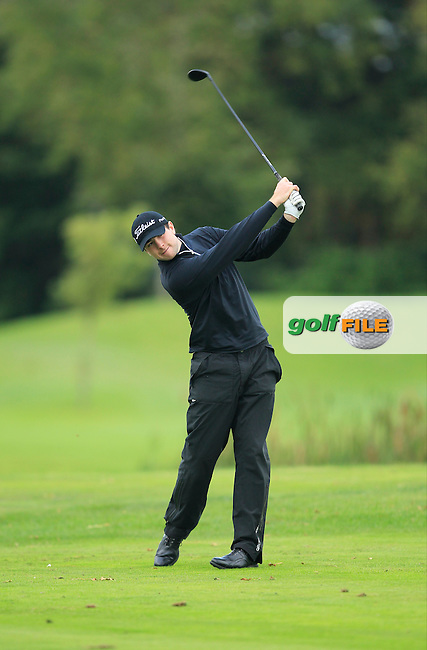 Patrick Small (Galway G.C) on the 15th tee  during Round 3 of The Cassidy Golf 103rd Irish PGA Championship in Roganstown Golf Club on Saturday 12th October 2013.<br /> Picture:  Thos Caffrey / www.golffile.ie