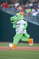 Charlotte Knights mascot Homer runs the bases between innings of the game against the Toledo Mud Hens at BB&T BallPark on June 22, 2018 in Charlotte, North Carolina. The Mud Hens defeated the Knights 4-0.  (Brian Westerholt/Four Seam Images)