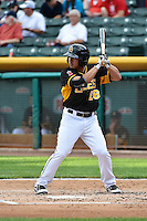 Eric Komatsu (28) of the Salt Lake Bees at bat against the Albuquerque Isotopes at Smith's Ballpark on May 21, 2014 in Salt Lake City, Utah.  (Stephen Smith/Four Seam Images)