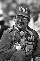 Bobby Rahal speaks to the crowd after winning the 1986 Indy 500 race in Indianapolis, Indiana.