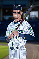 Gwinnett Stripers outfielder Drew Waters (11) poses for a photo prior to the game against the Scranton/Wilkes-Barre RailRiders at BB&T BallPark on August 18, 2019 in Lawrenceville, Georgia. The RailRiders defeated the Stripers 9-3. (Brian Westerholt/Four Seam Images)