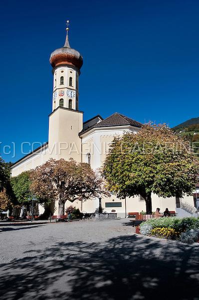 The 19th Century Pfarrkirche St. Jodok church of Schruns, in Vorarlberg (Austria, 15/10/2011)