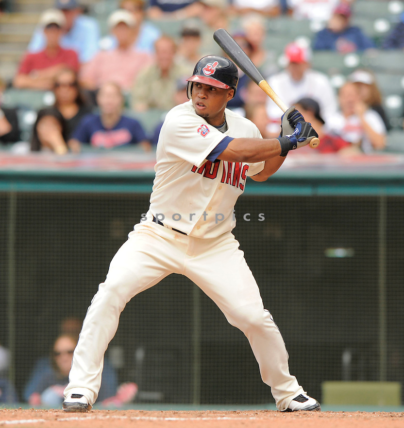 LUIS VALBUENA of the Cleveland Indians, in action during the Indians game against the Seattle Mariners on August 23, 2009 in Cleveland, OH. The Indians beat the Mariners 6-1...