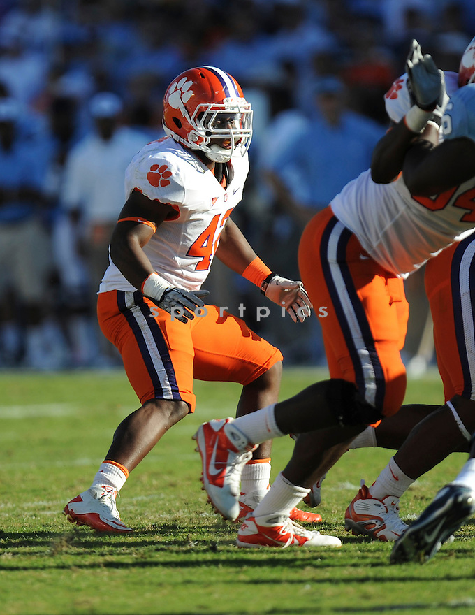 CORICO HAWKINS, of the Clemson Tigers, in action during the Clemson Tigers game against the North Carolina Tarheels at Kenan Stadium on October 09, 2010  in Chapel Hill, NC..North Carolina 21 beats Clemson 16.