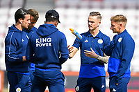 James Maddison of Leicester City juggles a bottle while talking to team mates during AFC Bournemouth vs Leicester City, Premier League Football at the Vitality Stadium on 15th September 2018