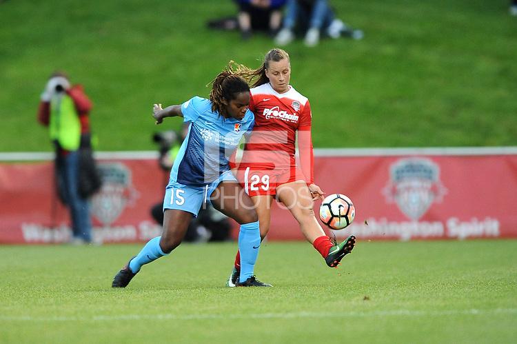 Boyds, MD - Saturday May 6, 2017: Kayla Mills, Meggie Dougherty Howard during a regular season National Women's Soccer League (NWSL) match between the Washington Spirit and Sky Blue FC at Maureen Hendricks Field, Maryland SoccerPlex.