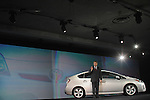 Bob Carter, Division Group Vice-President and General Manager of the Toyota Prius, unveils the third generation of Toyota Prius at the Detroit Auto Show in Detroit, Michigan on January 12, 2009.