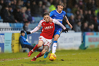 Ashley Hunter of Fleetwood Town and Lee Martin of Gillingham during the Sky Bet League 1 match between Gillingham and Fleetwood Town at the MEMS Priestfield Stadium, Gillingham, England on 27 January 2018. Photo by David Horn.