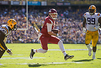 NWA Democrat-Gazette/BEN GOFF @NWABENGOFF<br /> Austin Allen, Arkansas quarterback, runs the ball in the second quarter against LSU Saturday, Nov. 11, 2017 at Tiger Stadium in Baton Rouge, La.
