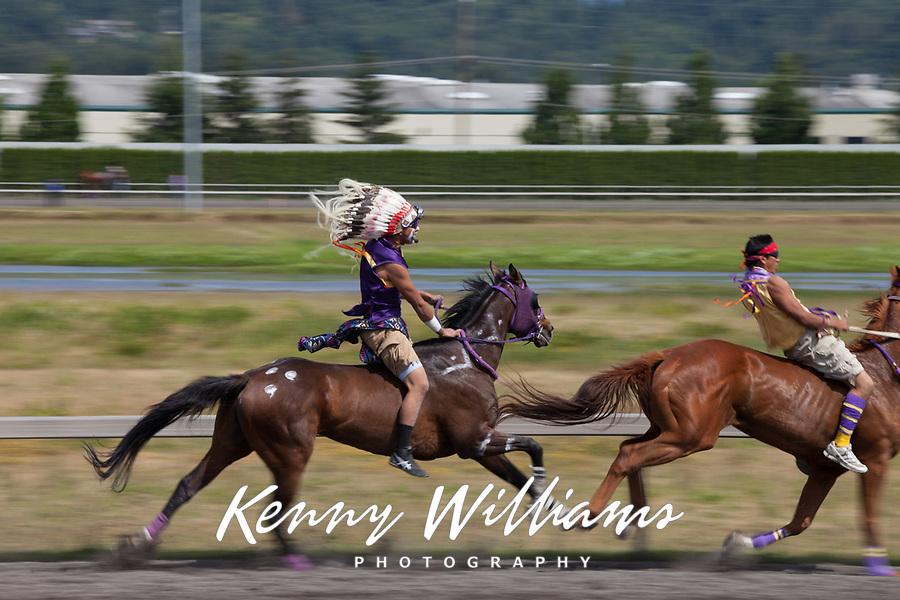 Indian Relay Horse Racing, Muckleshoot Gold Cup 2016, Emerald Downs, Auburn, Washington, USA.