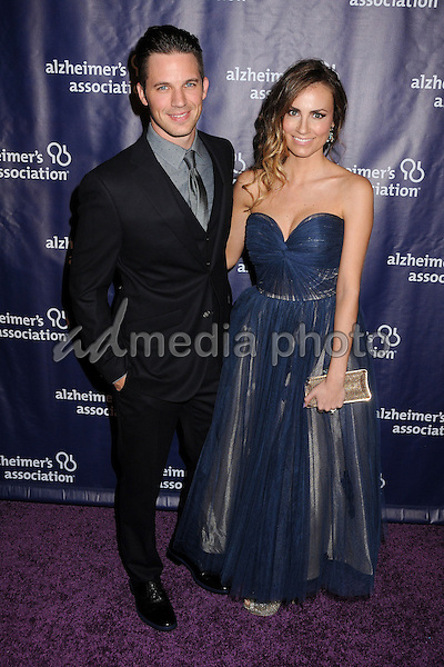 "18 March 2015 - Beverly Hills, California - Matt Lanter, Angela Lanter. 23rd Annual ""A Night at Sardi's"" Benefit for the Alzheimer's Association held at The Beverly Hilton Hotel. Photo Credit: Byron Purvis/AdMedia"