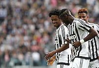 Calcio, Serie A: Juventus vs Palermo. Torino, Juventus Stadium, 17 aprile 2016.<br /> Juventus&rsquo; Juan Cuadrado, left, celebrates with teammates Paul Pogba, center, and Mario Lemina, after scoring during the Italian Serie A football match between Juventus and Palermo at Turin's Juventus Stadium, 17 April 2016.<br /> UPDATE IMAGES PRESS/Isabella Bonotto
