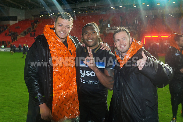 Zach Mercer, Semesa Rokoduguni and Darren Allinson of Bath Rugby pose for a photo after the match. European Rugby Champions Cup match, between the Scarlets and Bath Rugby on October 20, 2017 at Parc y Scarlets in Llanelli, Wales. Photo by: Patrick Khachfe / Onside Images