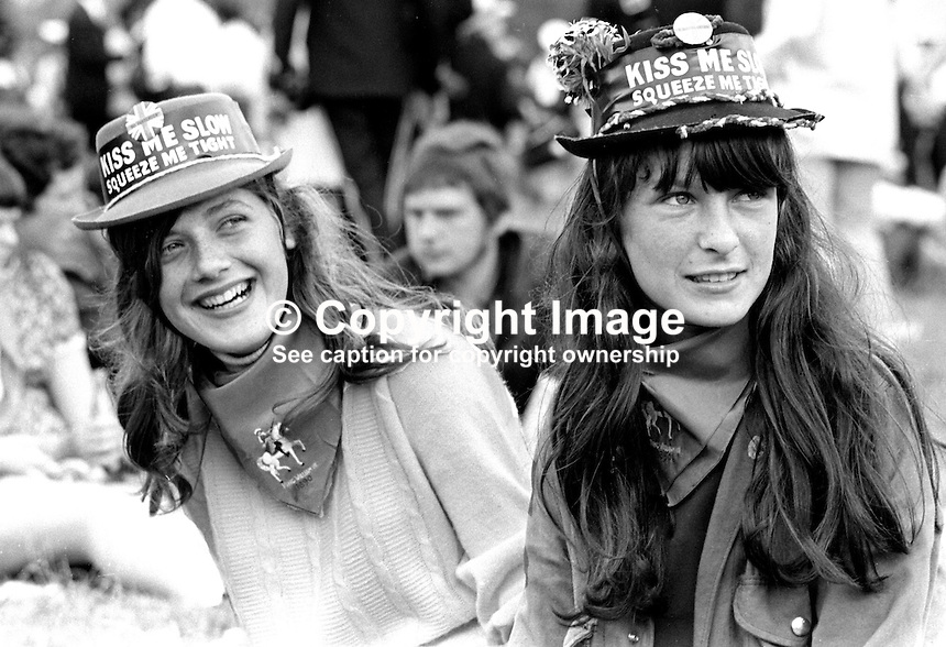Twelfth, Belfast, N Ireland, 12th July 1969 - two young girls enjoy the day out at The Field, Finaghy, South Belfast, N Ireland. 196907120189a<br />