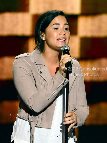 Demi Lovato rehearses prior to her performing at the 2016 Democratic National Convention at the Wells Fargo Center in Philadelphia, Pennsylvania on Monday, July 25, 2016.<br /> Credit: Ron Sachs / CNP<br /> (RESTRICTION: NO New York or New Jersey Newspapers or newspapers within a 75 mile radius of New York City)